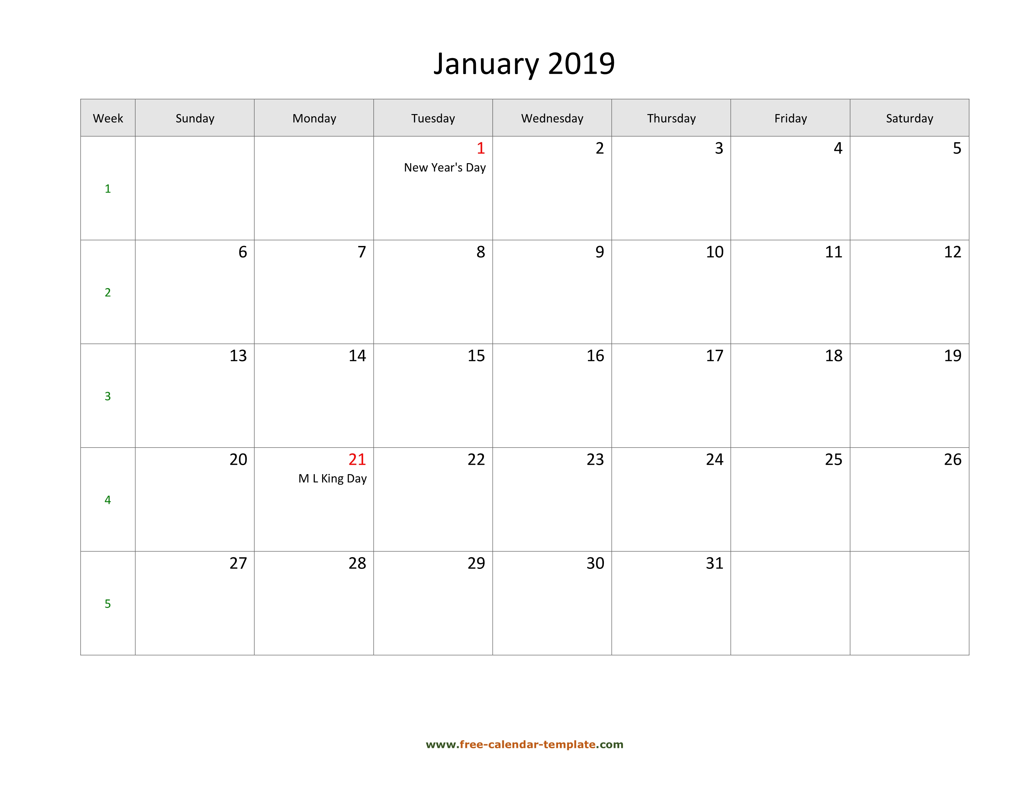 photo relating to Calendar With Holidays Printable called Totally free 2019 Calendar Blank January Template (horizontal