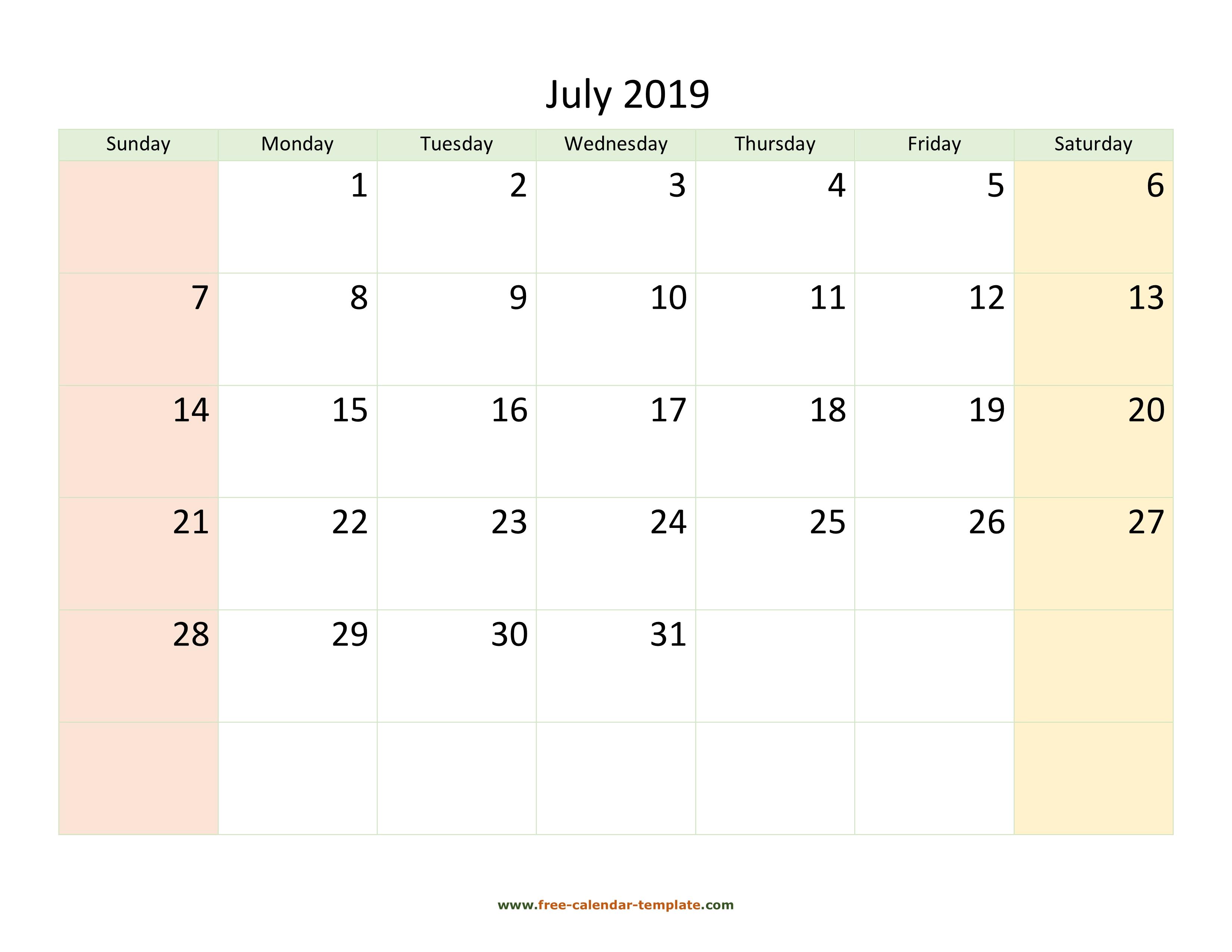 photo regarding July Calendar Printable titled July 2019 Calendar Printable with coloring upon weekend