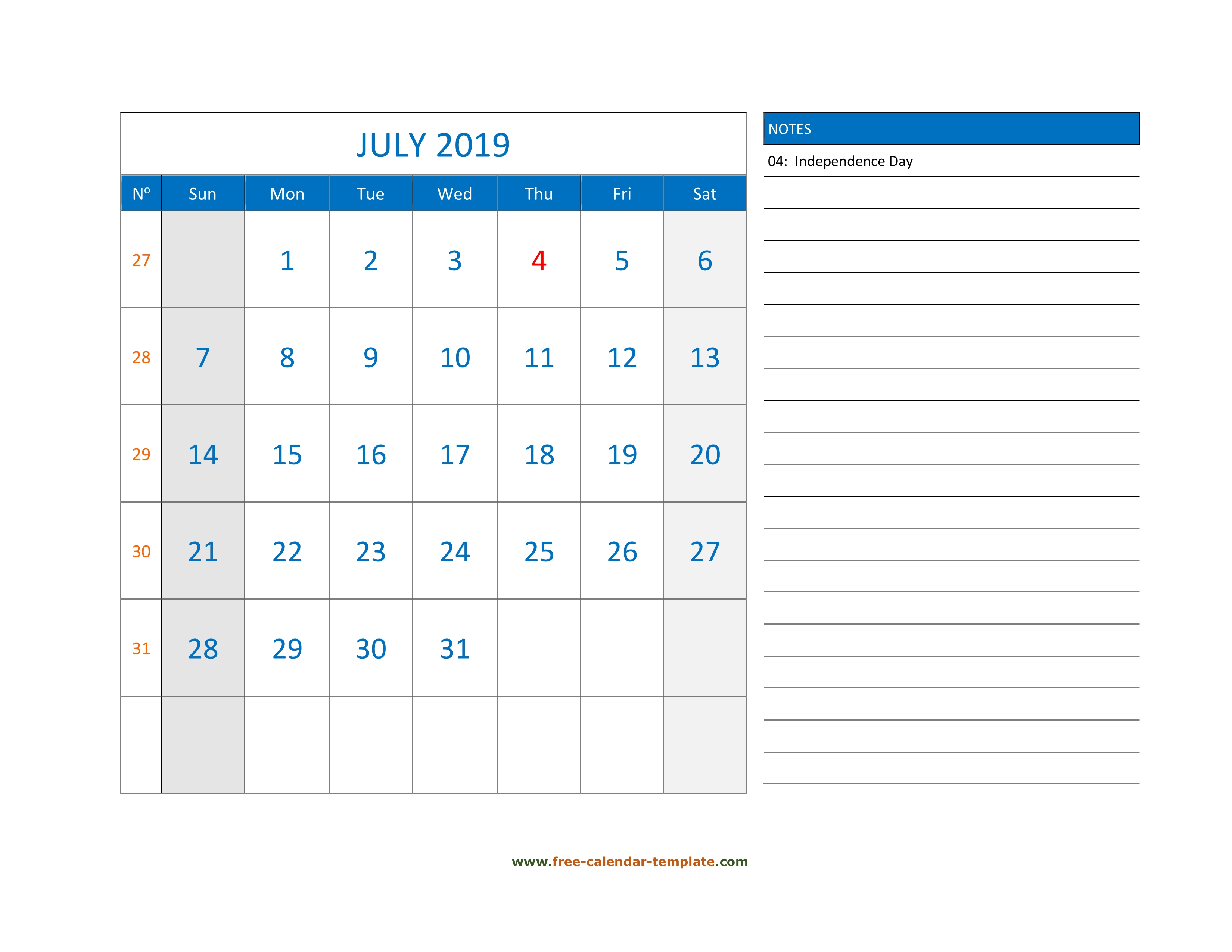 July Calendar 2019 Grid Lines For Holidays And Notes