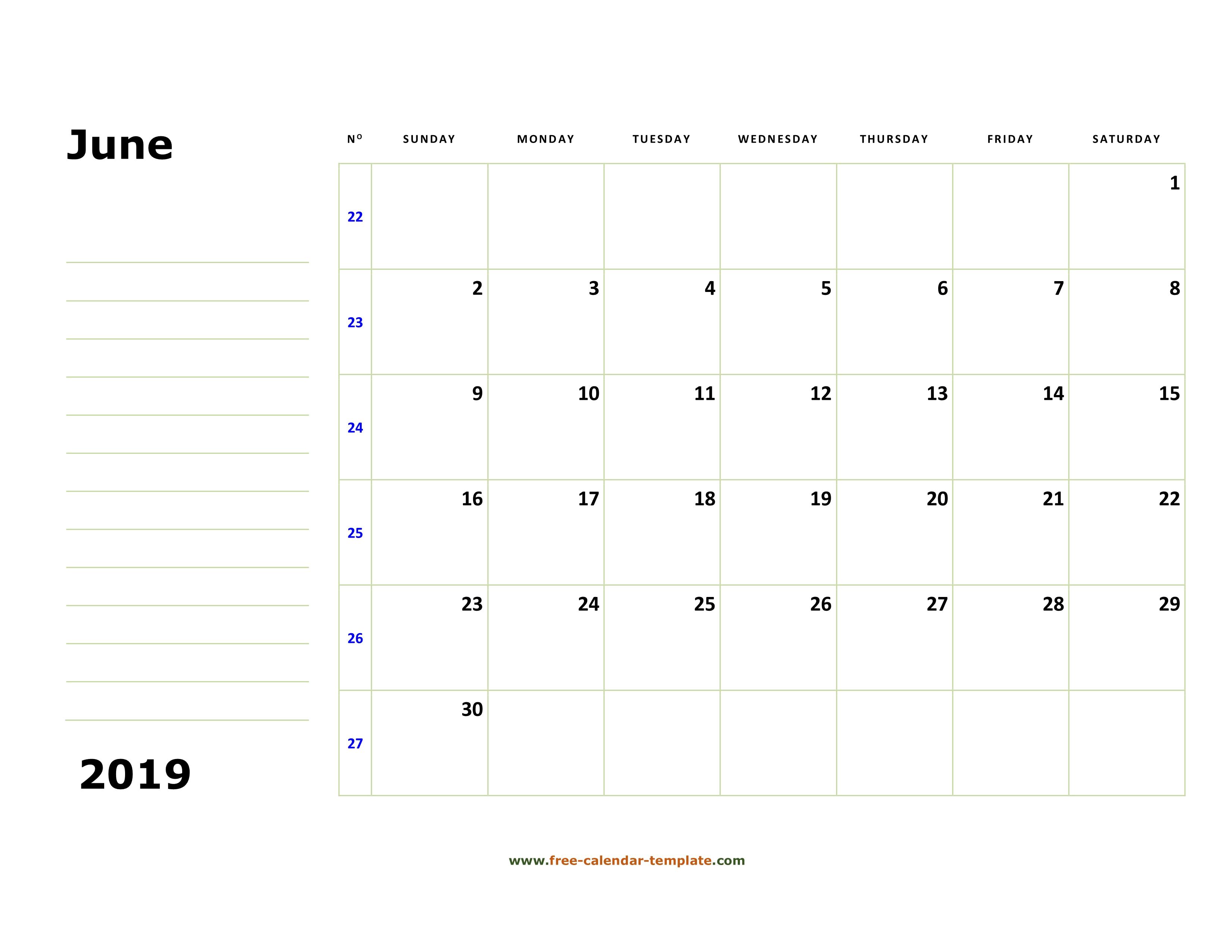 photograph regarding Printable June Calendar identify Printable June 2019 Calendar (box and strains for notes