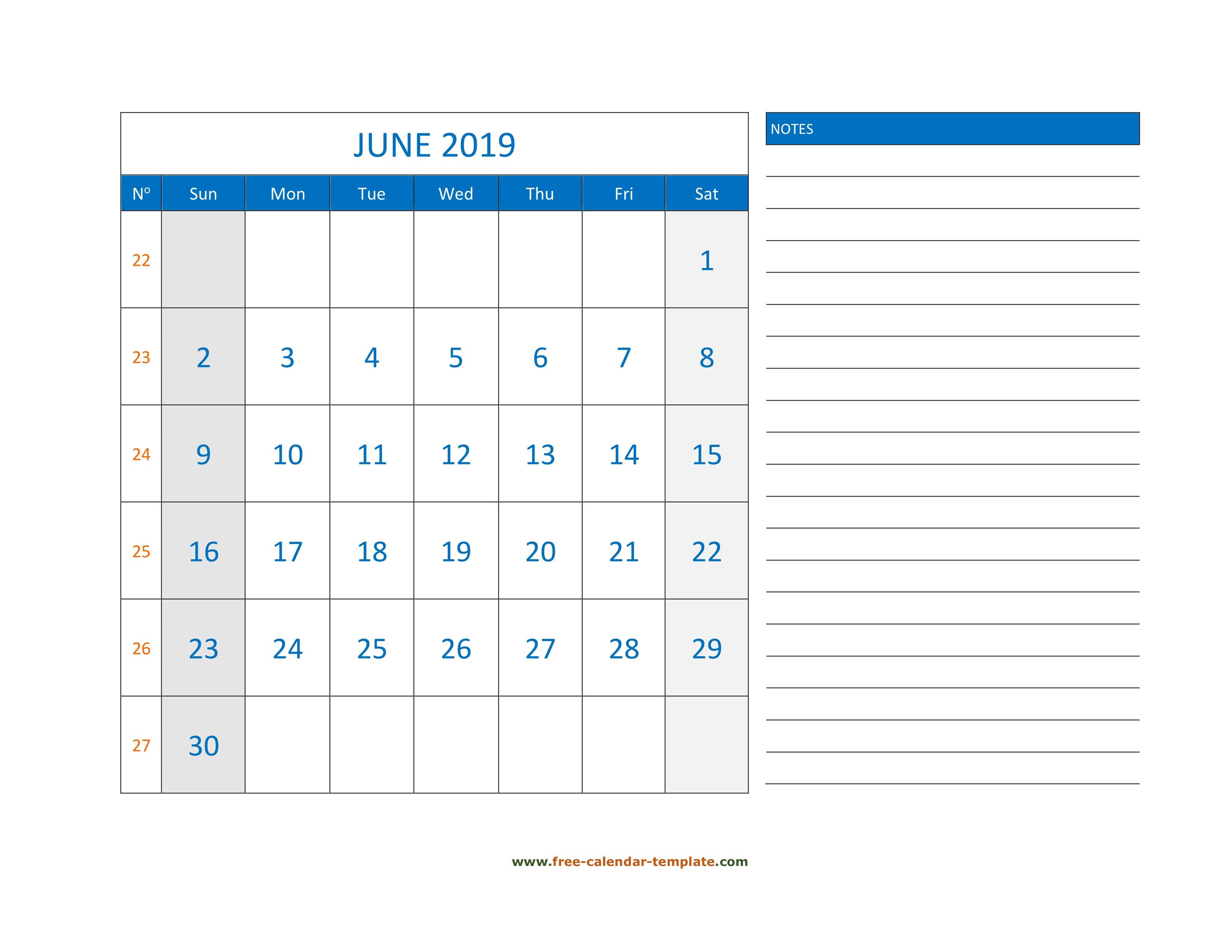 June Calendar 2019 Grid Lines For Holidays And Notes