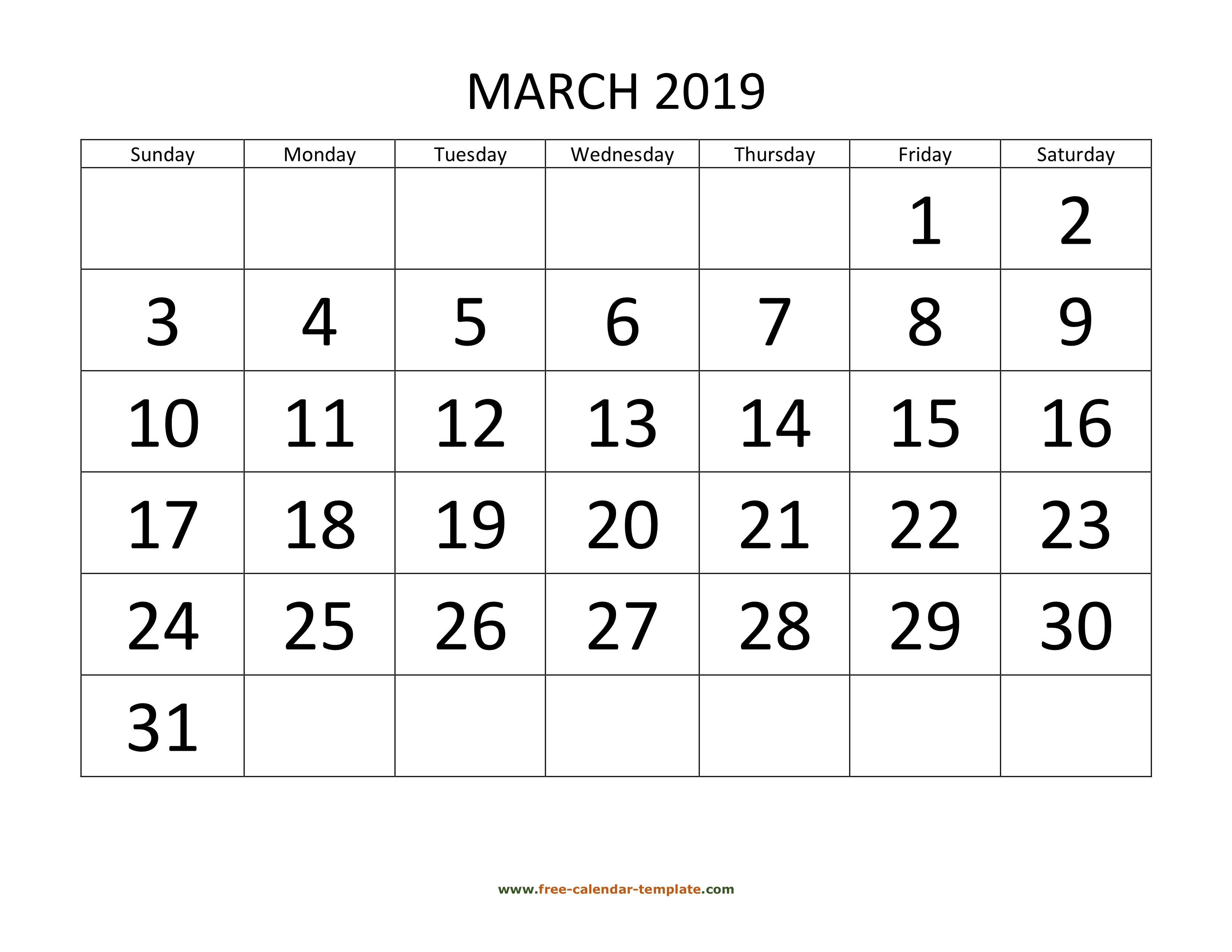 March 2019 Calendar Designed With Large Font Horizontal