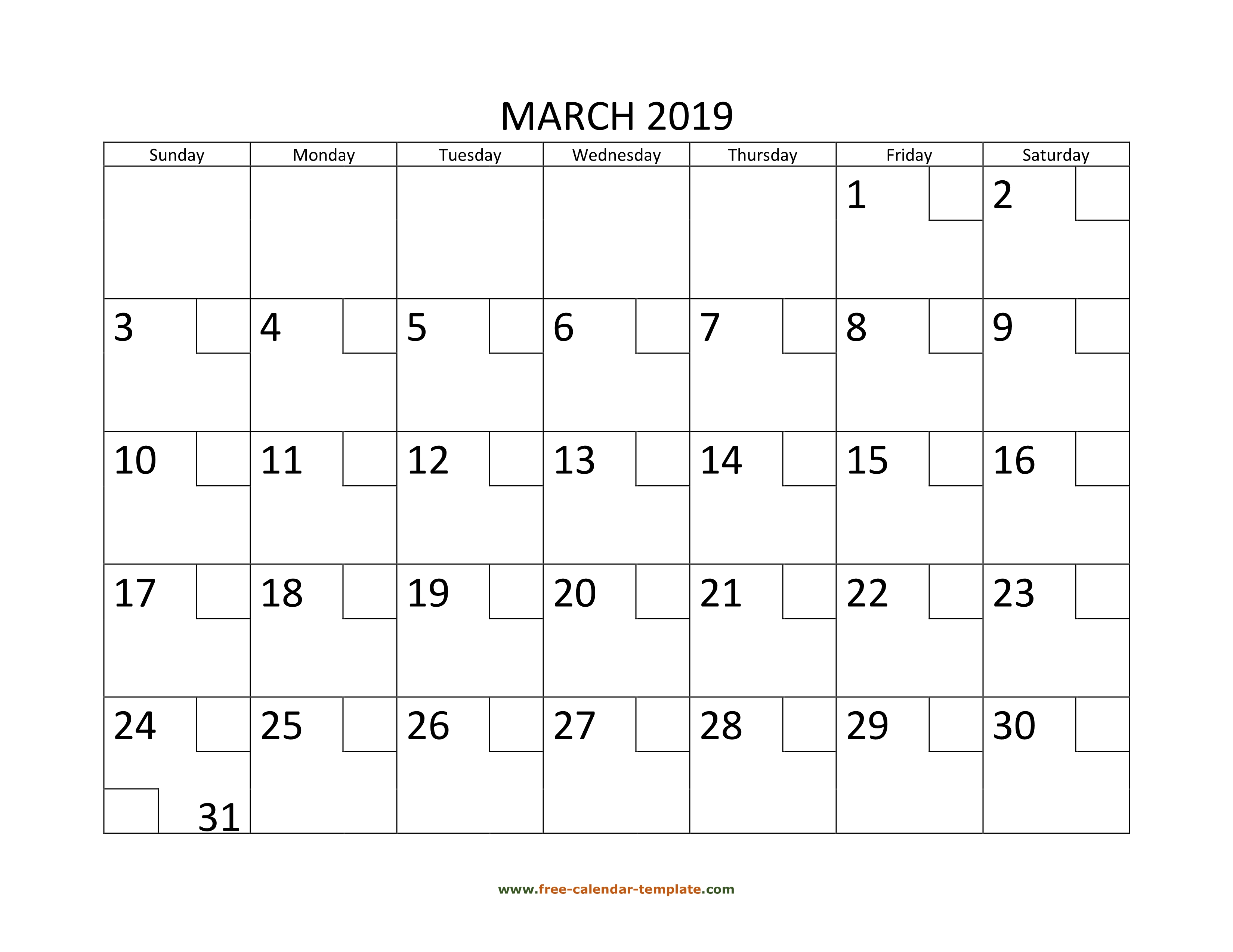 March Calendar 2019 Printable With Checkboxes Horizontal