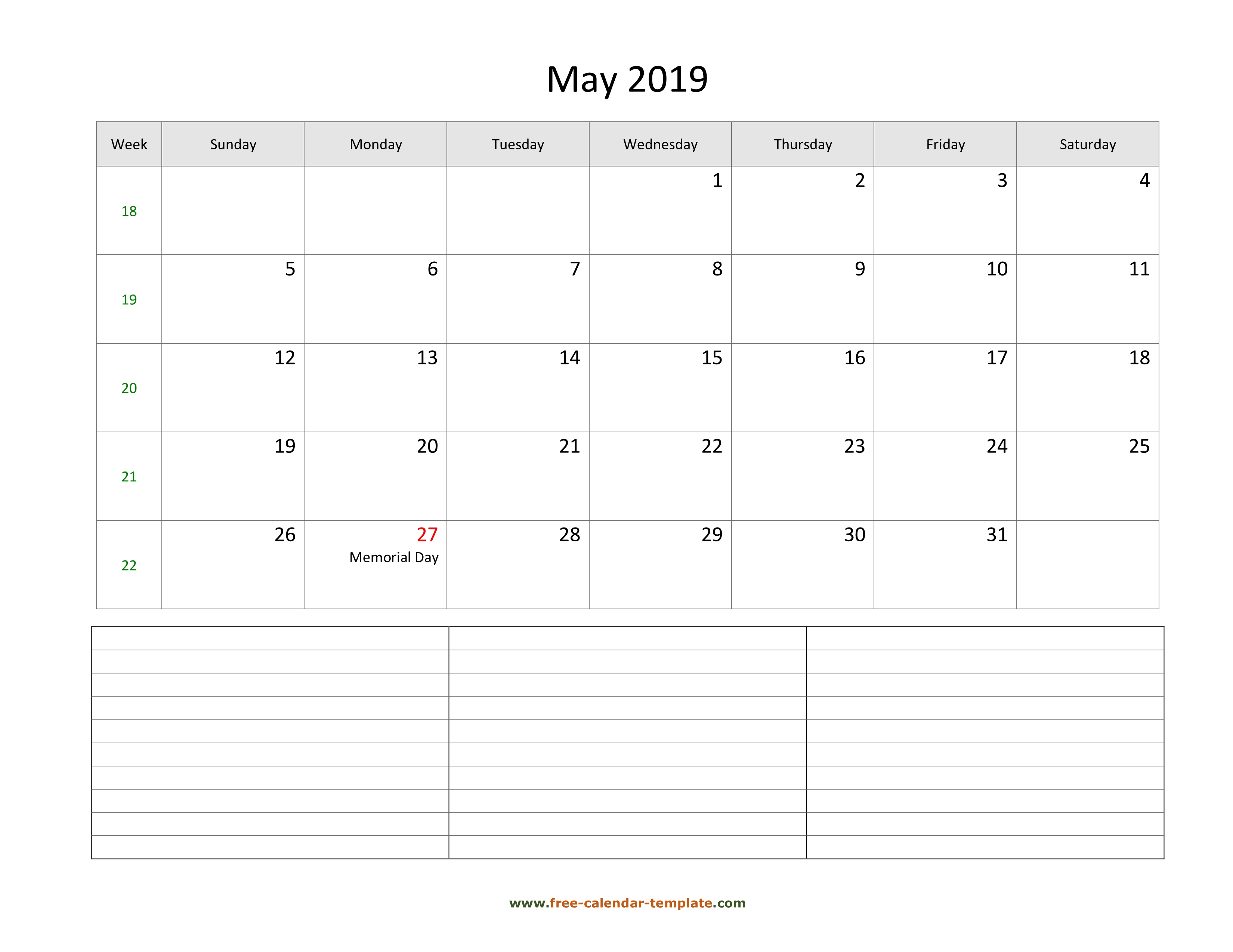 2019 Printable May Calendar With Space For Appointments