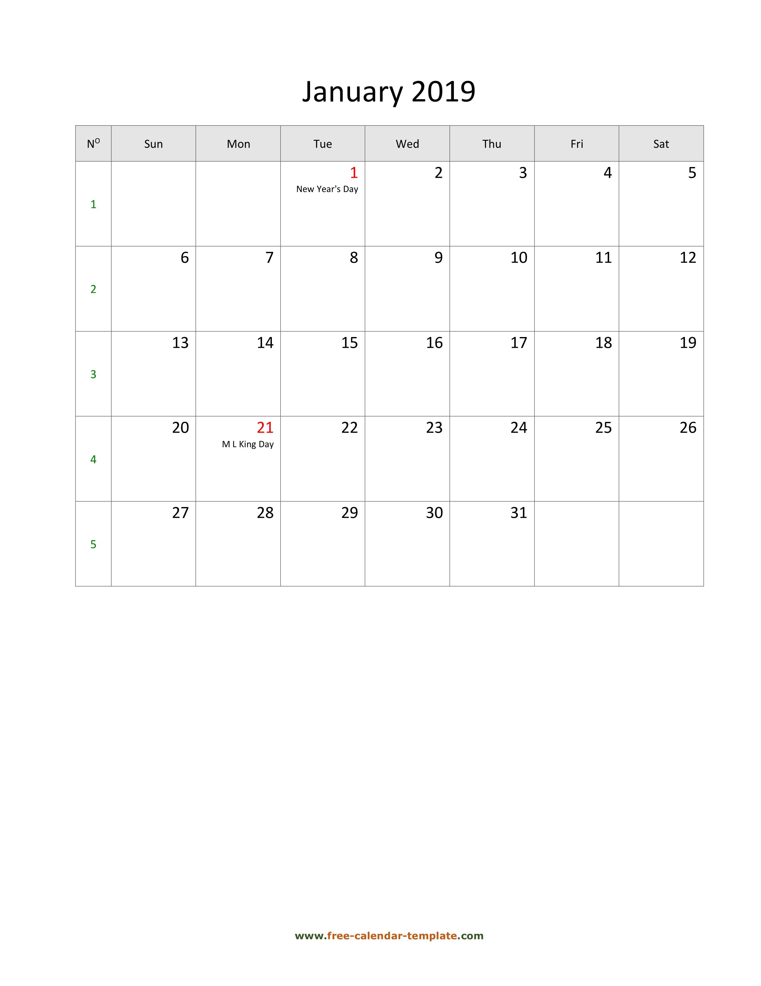 2019 Monthly Calendar Blank Vertical Template Free Calendar