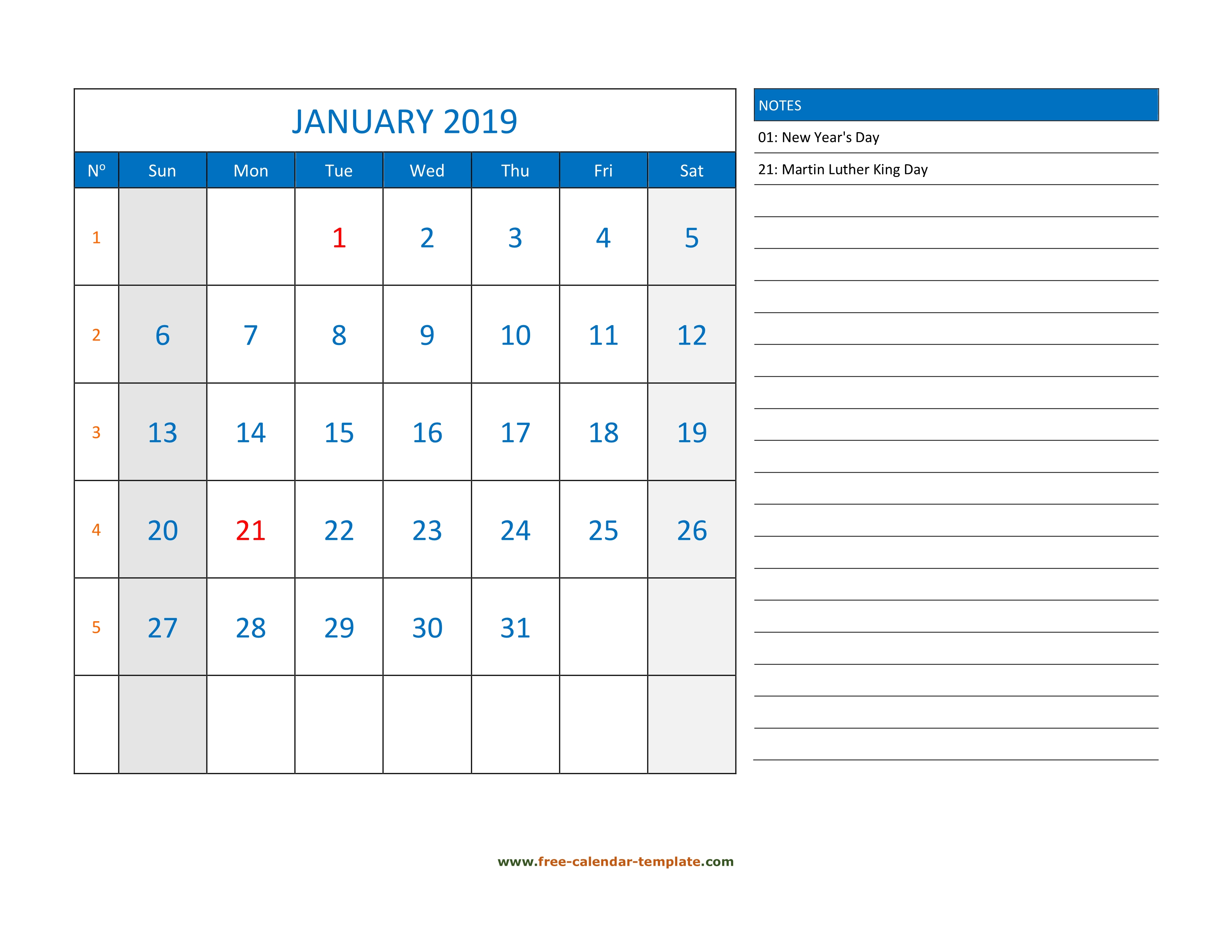Monthly Calendar 2019 Grid Lines For Holidays And Notes Horizontal