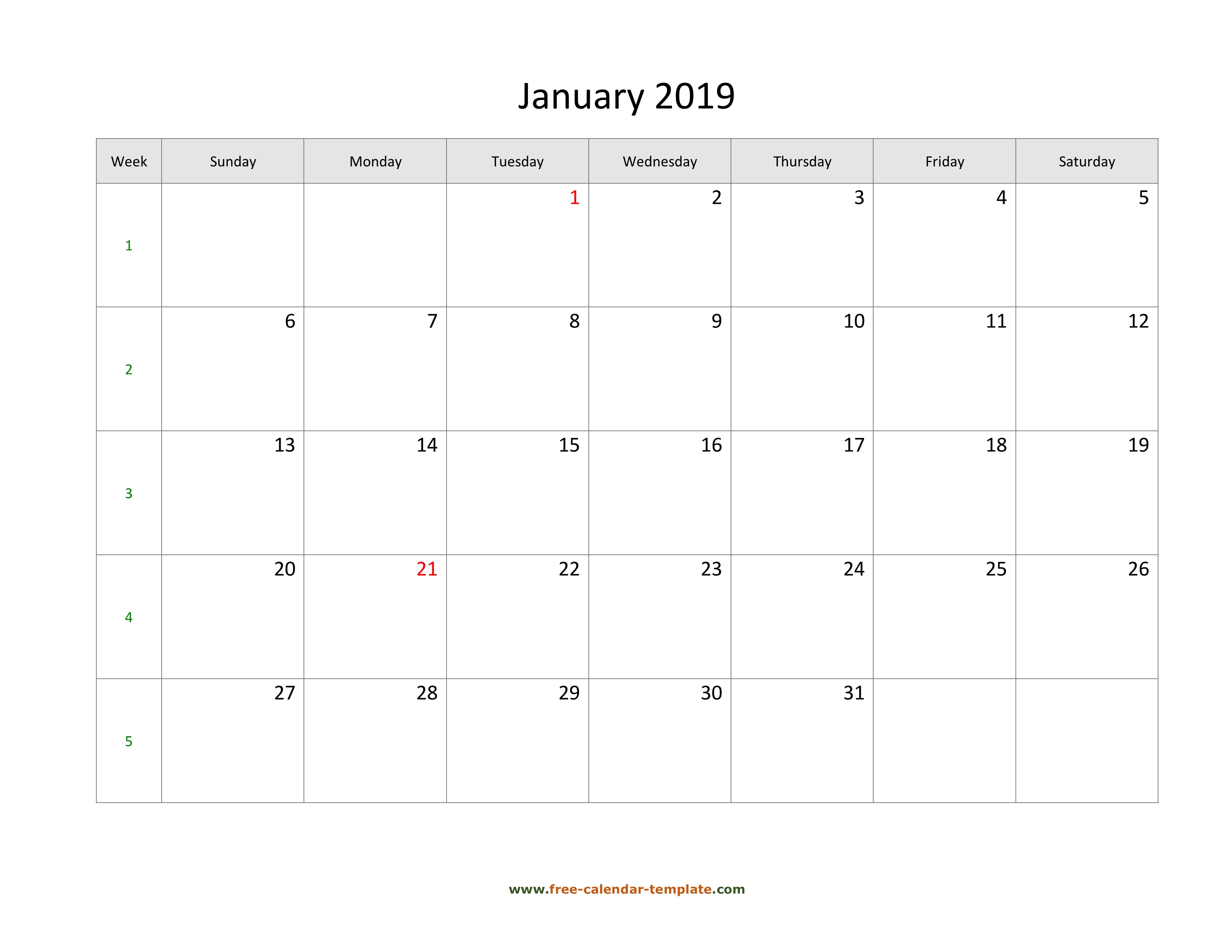 simple monthly calendar 2019 large box on each day for notes
