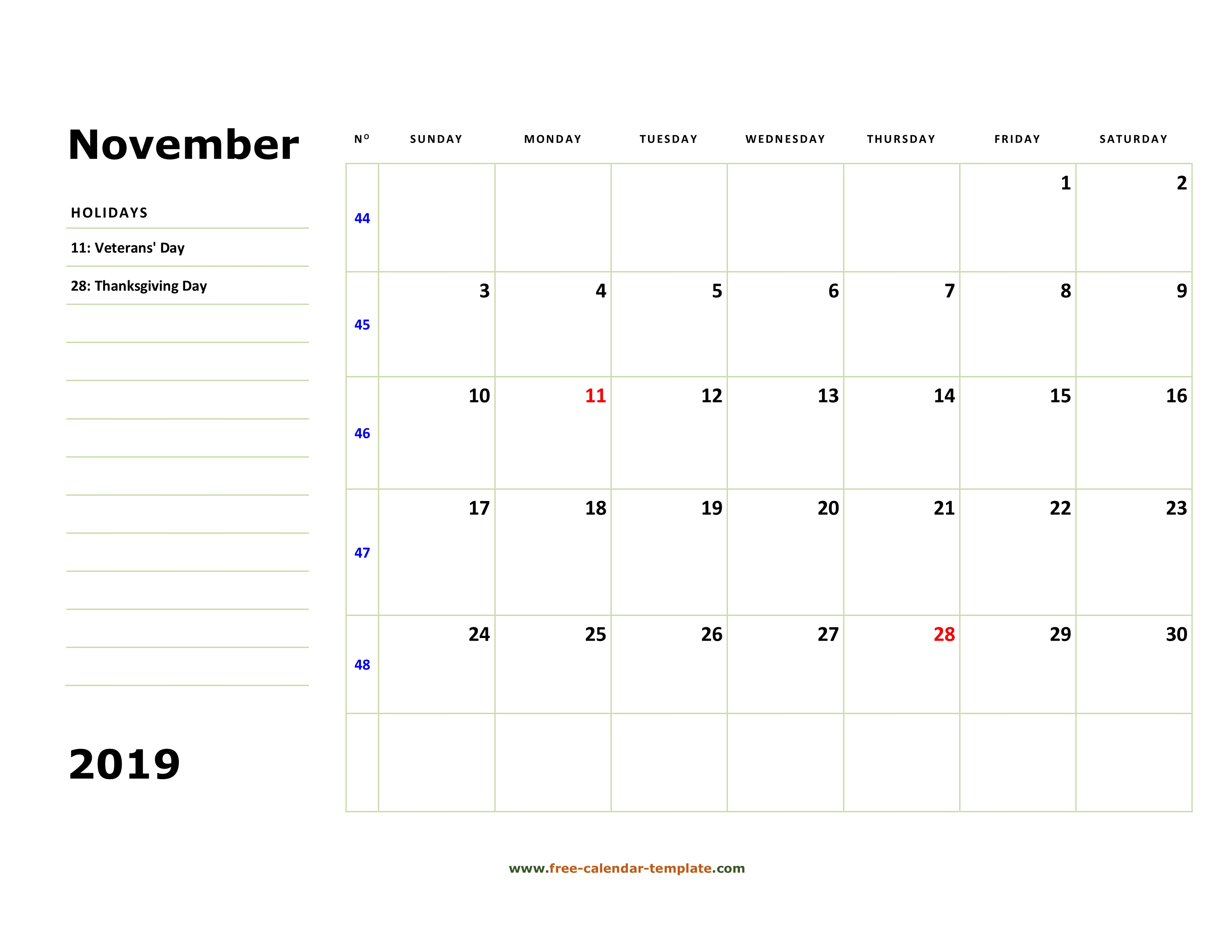 Printable November 2019 Calendar Box And Lines For Notes