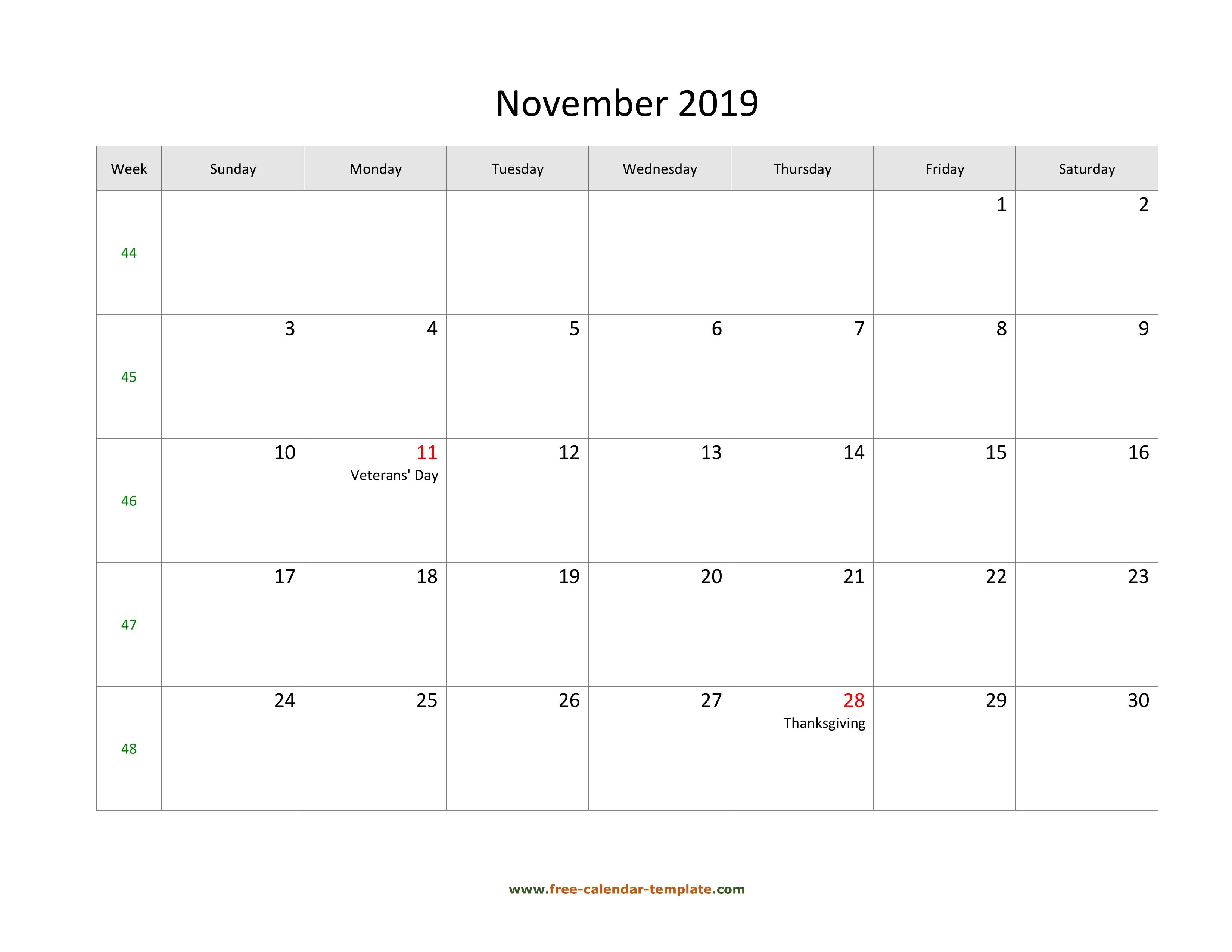 Free 2019 Calendar Blank November Template Horizontal