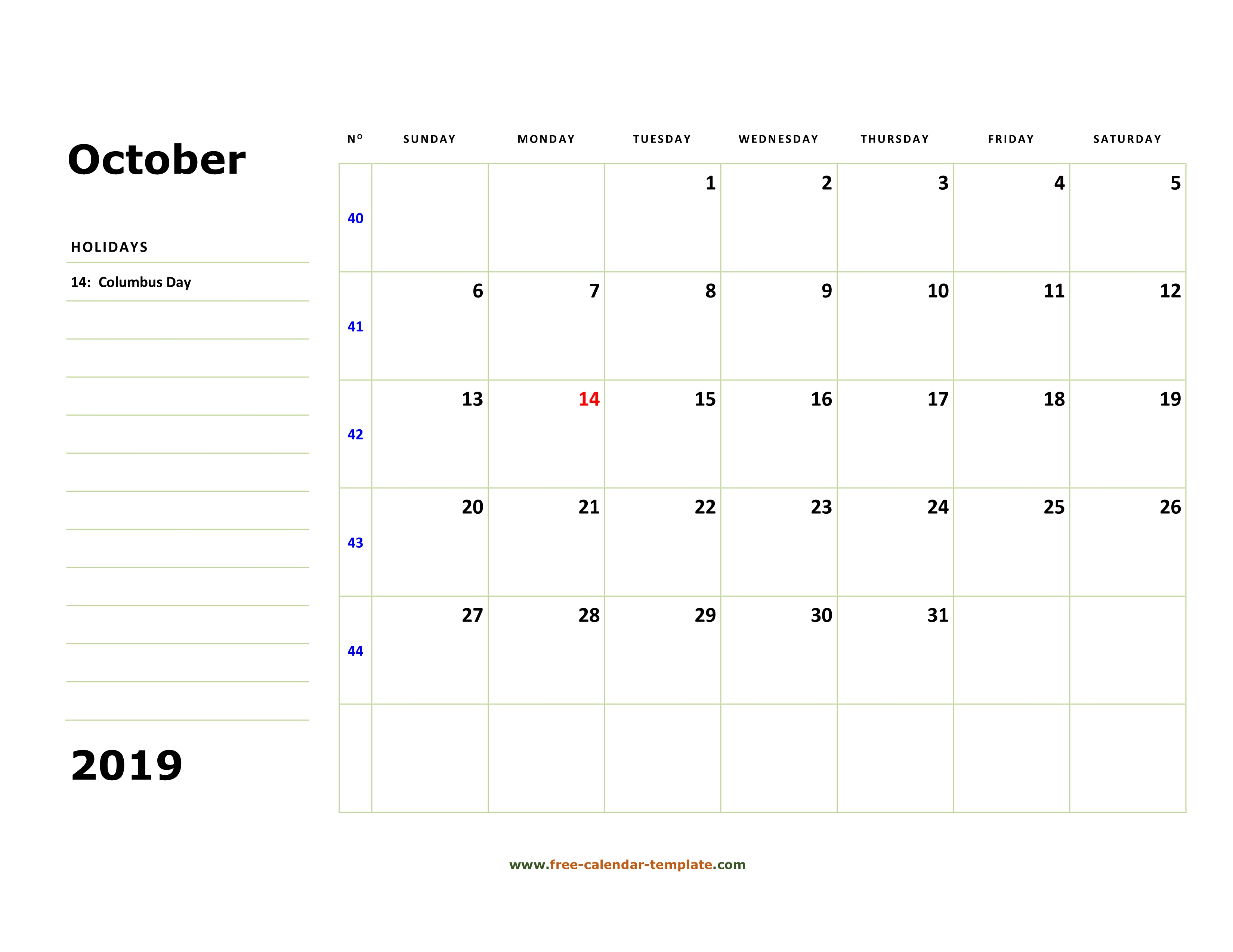Printable October 2019 Calendar Box And Lines For Notes