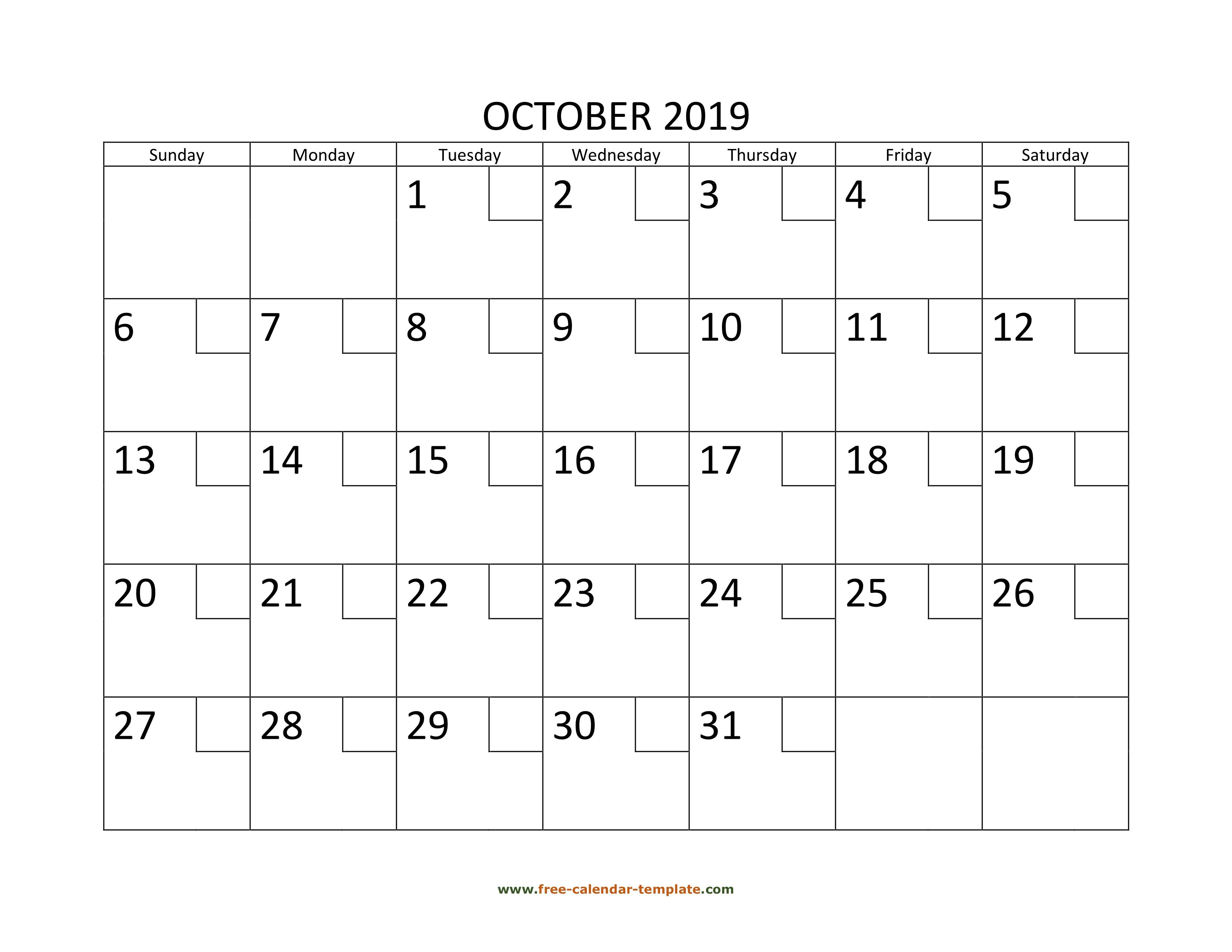 October Calendar 2019 Printable With Checkboxes Horizontal