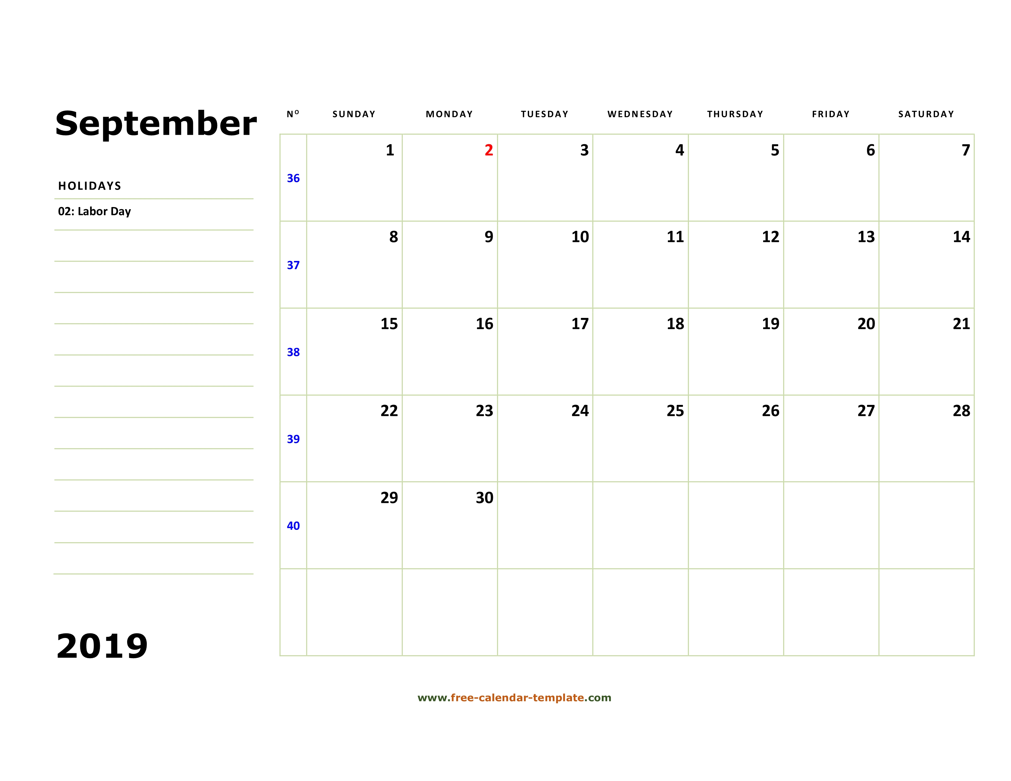 photo regarding Free Printable Oct Calendar called Printable September 2019 Calendar (box and strains for notes