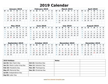 2019 calendar holidays bottom horizontal