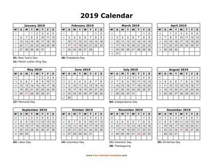 yearly calendar 2019 printable