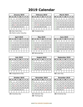 2019 calendar holidays month vertical