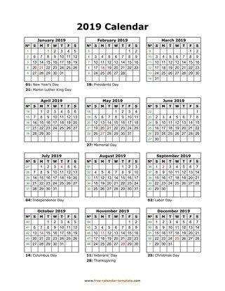 Printable Yearly Calendar 2019 Free Calendar Template Com
