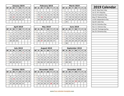 2019 calendar holidays right horizontal