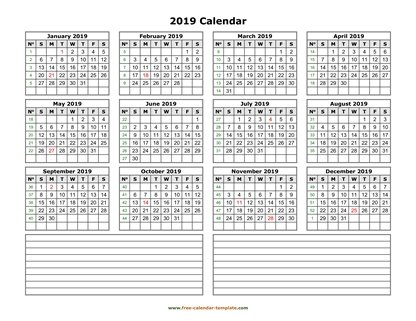 2019 calendar notes horizontal