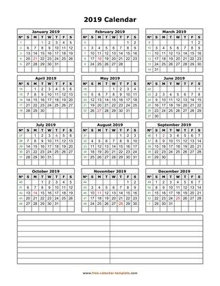 2019 Yearly Calendar Printable With Week Numbers Free Calendar