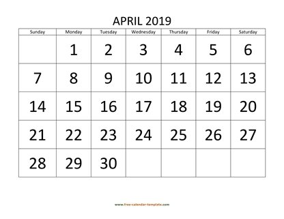 april 2019 calendar bigfont horizontal