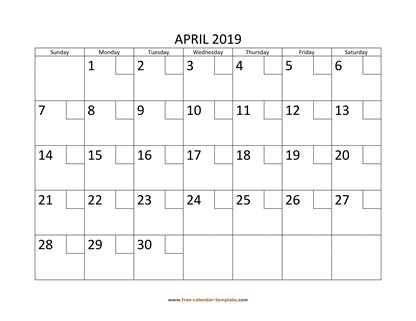 april 2019 calendar checkboxes horizontal