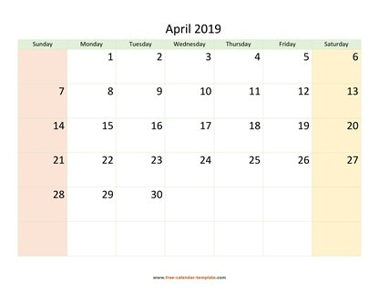 april 2019 calendar colored horizontal