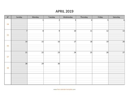april 2019 calendar daygrid horizontal
