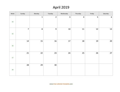 april 2019 calendar holidays horizontal