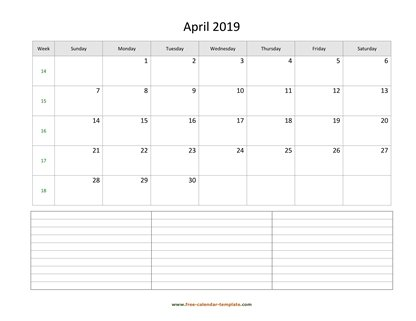 april 2019 calendar notes horizontal