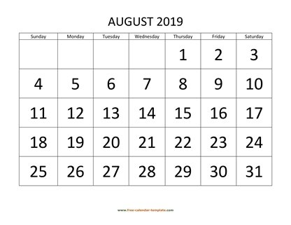 august 2019 calendar bigfont horizontal