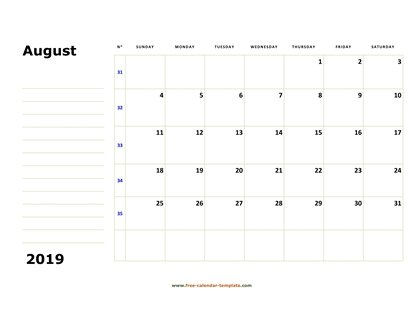august 2019 calendar boxnotes horizontal