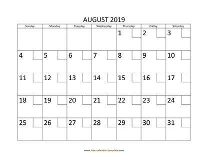 august 2019 calendar checkboxes horizontal