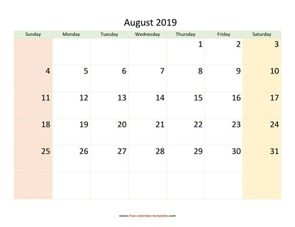 august 2019 calendar colored horizontal