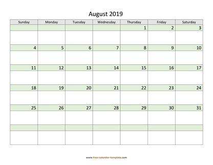 august 2019 calendar daycolored horizontal