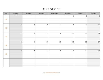 august 2019 calendar daygrid horizontal