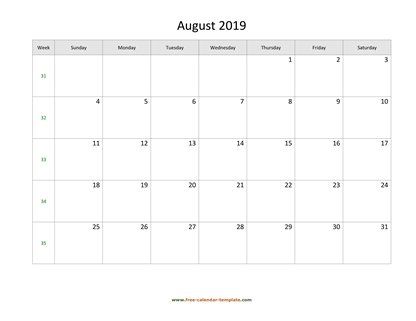 august 2019 calendar holidays horizontal
