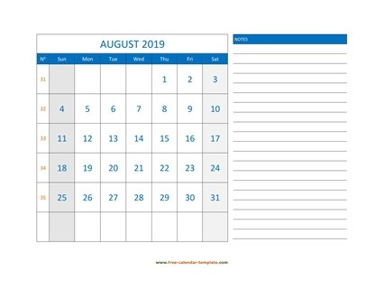 august 2019 calendar largenotes horizontal