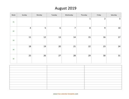 august 2019 calendar notes horizontal