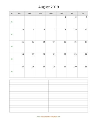august 2019 calendar notes vertical