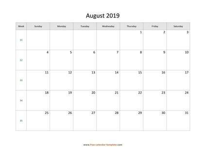 august 2019 calendar simple horizontal