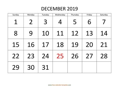 december 2019 calendar bigfont horizontal