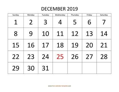Free Horizontal December 2019 Calendar December 2019 Free Calendar Tempplate | Free calendar template.com