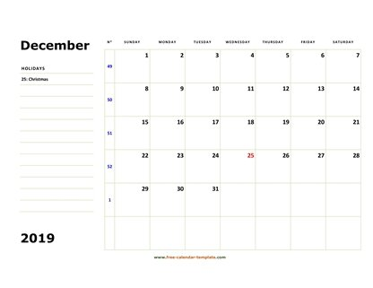 December 2019 Free Calendar Tempplate Free Calendar Template Com