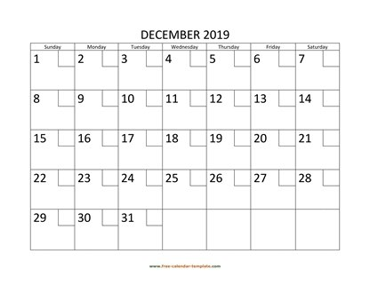 december 2019 calendar checkboxes horizontal