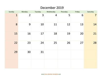 december 2019 calendar colored horizontal