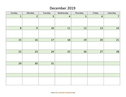 december 2019 calendar daycolored horizontal