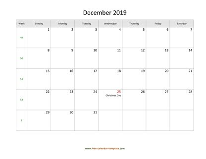december 2019 calendar holidays horizontal