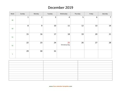 december 2019 calendar notes horizontal
