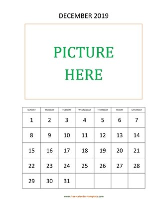 december 2019 calendar picture vertical