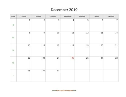 december 2019 calendar simple horizontal